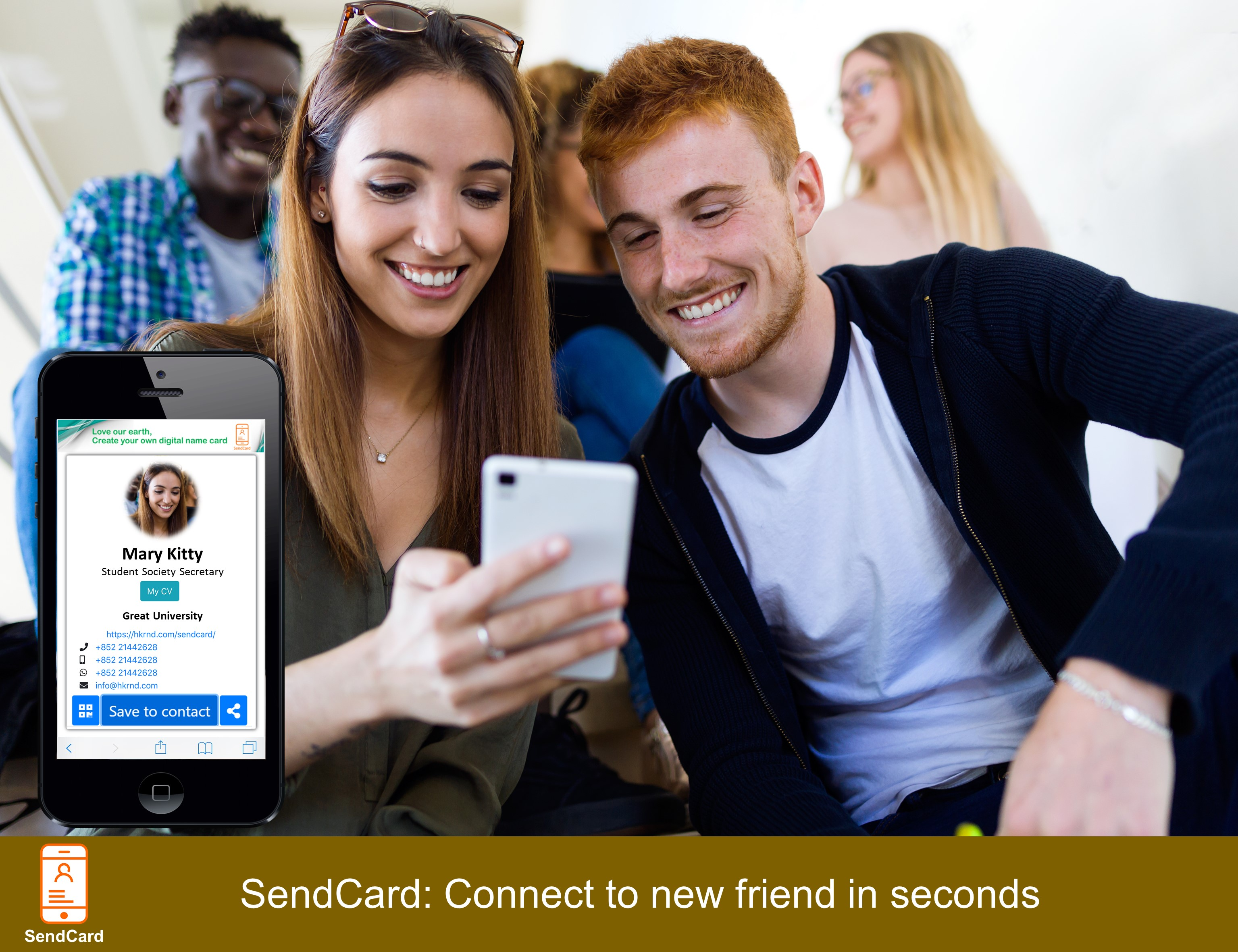 Guy exchanging contact with girl using SendCard