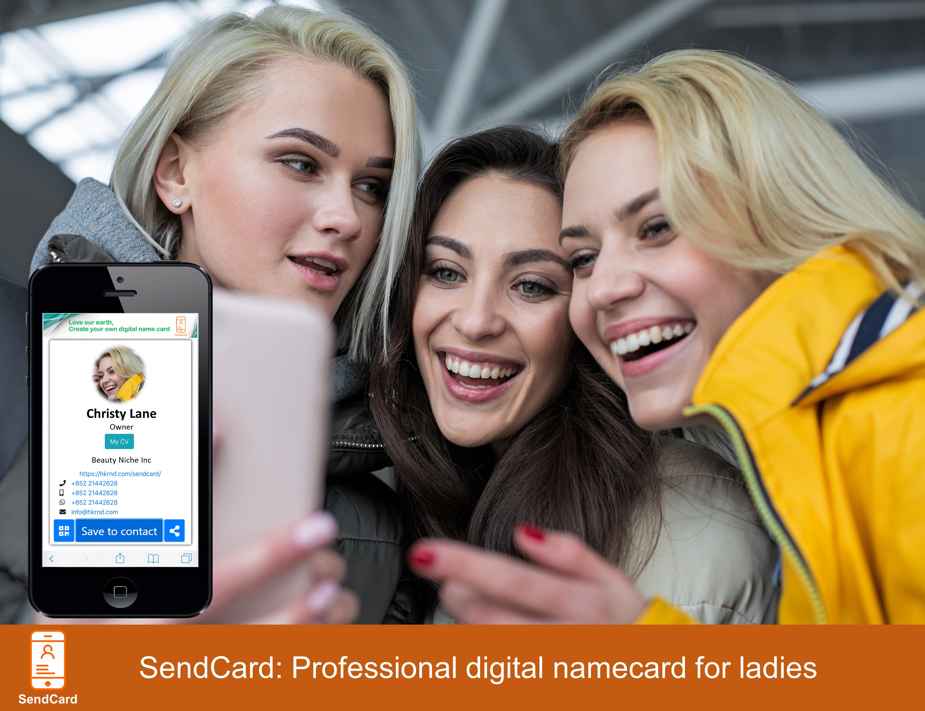 Three girls amazed using SendCard