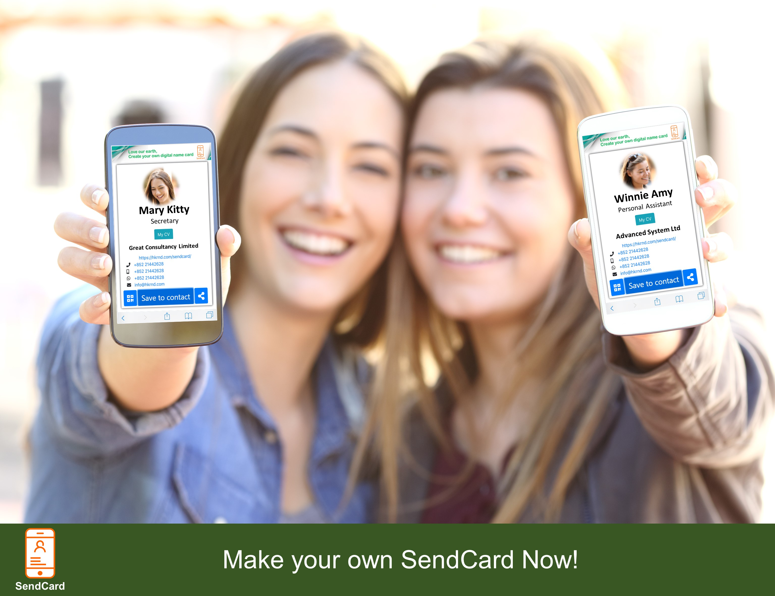 Two girls show using Sendcard