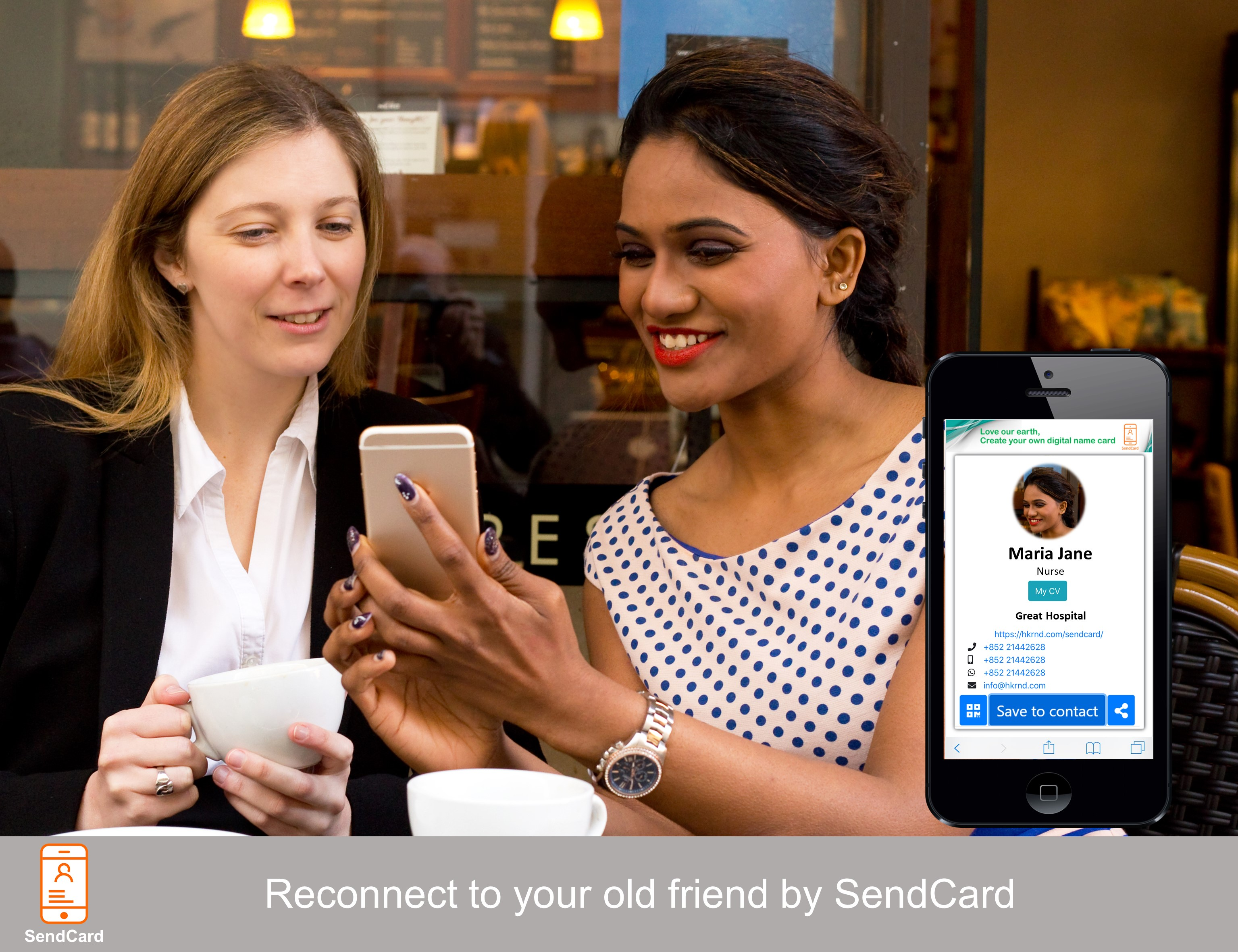 A girl showing her Sendcard to another one